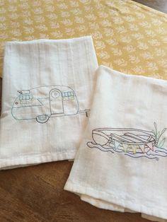 Vintage styled flour sack towels.   Summer retro love!