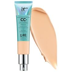 Shop IT Cosmetics' CC+ Cream Oil-Free Matte with SPF 40 at Sephora. A bestselling, full-coverage, color-correcting cream—now oil-free with SPF 40 physical sunscreen. It Cosmetics Cc Cream, Make Up Cosmetics, Foundation With Spf, Matte Foundation, Makeup Foundation, Ben Nye, Sephora, Now Oils, Serum Anti Age