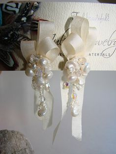 Off White Silk Ribbon with Pearl Earrings by JewelryByJuliet, $34.00
