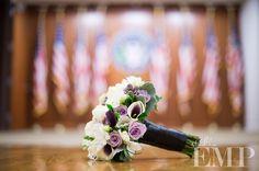 elegant violet and white wedding bridal bouquet