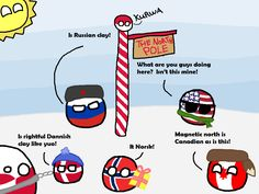 """""""Polandball Advent Calendar 2014 - Day 22 - Arctic Sovereignty"""" ( Poland, Russia, US, Denmark, Greenland, Norway, Canada ) by polandballmod #polandball #countryball #flagball"""