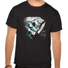 Ghostly Skull Chef with chef knifeT-shirt: A cool culinary themed chef skull design; a great gift for the head chef, sous chef, home cook, line cook, or anyone with a fierce passion for cooking. Available in many different colors and styles, including hoodies. Visit www.zazzle.com/thechefshoppe* to see more cool culinary themed skulls on tons of different products.