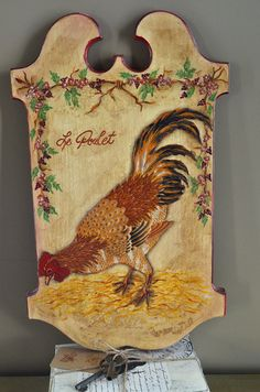 French Country Red Hen Wooden Wall Plaque by AupetitMarket on Etsy, $45.00