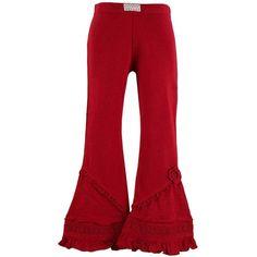 Naartjie Kids | Kid Girl Clothes | Pieced Crochet Trimmed Bell Bottoms ($18) via Polyvore
