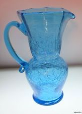Crackle Glass Pitcher Applied Handle Turquoise Blue
