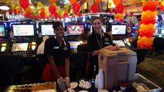 Our lovely ladies of Emerald Island Casino serving sweet cakes and delicious coffee #EmeraldIslandCasino #Henderson #Nevada #casino #PigOut #Party  #gambling