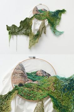 Ana Teresa Barboza, Peruvian Artist, has used wool to create different textures to create 3 dimensional artwork/sculptures cascading out of an embroidery hoop. Sculpture Textile, Textile Fiber Art, Textile Artists, Embroidery Art, Embroidery Designs, A Level Textiles, Creation Art, A Level Art, Sewing Art