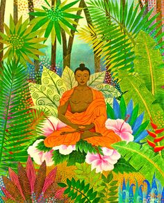 Buddha In The Jungle Painting