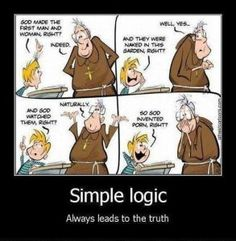 """""""Simple logic indeed! Funny Picture Quotes, Funny Pictures, Random Pictures, Atheist Jokes, Children Images, Atheism, Funny Comics, Best Memes, Inventions"""