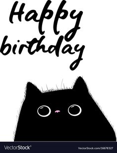happy birthday card with black cat illustration vector. Download a Free Preview or High Quality Adobe Illustrator Ai, EPS, PDF and High Resolution JPEG versions.