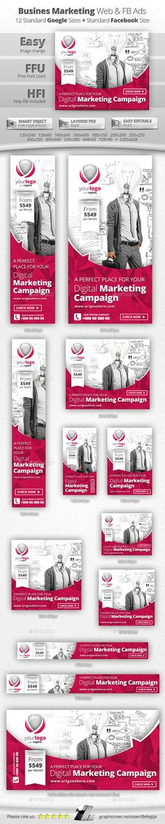 Business Marketing Campaign Web & Facebook Banners Tempalte #design…