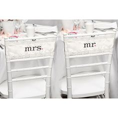 Satin and Lace Chair Sashes.Ivory satin chair sashes with ivory lace trim are embroidered in espresso with Mr. and punctuated with blush pink hearts. x fits chair back. The sashes tie into a bow to secure to the chair backs Diy Wedding Supplies, Wedding Supplies Wholesale, Party Supplies, Wedding Chairs, Wedding Reception Decorations, Wedding Ideas, Wedding Favors, Wedding Inspiration, Party Favors