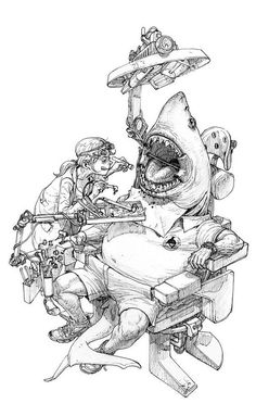 Shark Man at the dentist – by Kim Jung Gi