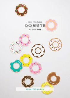CUTE FREE PRINTABLE DONUTS (via http://ohhappyday.com/2014/02/donut-printables/)