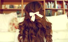 big curls, books, bow, brown, brunette, curly