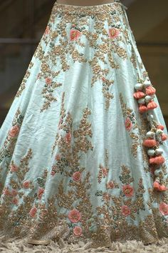 A Mint Green Zardosi Embroidered Raw Silk Bridal Lehenga FF2387