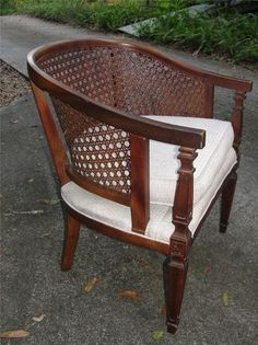 Pair of vintage barrel cane back chairs similar to this. Need to be reupholstered Chair Redo, Love Chair, Chair Makeover, Diy Chair, Polywood Adirondack Chairs, Adirondack Chairs For Sale, Cane Back Chairs, Side Chairs, Blue Velvet Dining Chairs