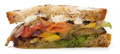 Sandwich inspiration: grilled veggies, goat cheese, and pesto.