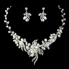 Freshwater Pearl And Crystal  Jewelry Set - Affordable Elegance Bridal -