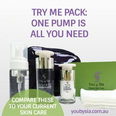 BEAUTY TIP OF THE MONTH: One pump is all it takes! Your product dispensing system is designed to provide you with exactly the right amount of active vitamins for your skin each time you apply or remove your skin care. Don't apply more than needed. The Try Me Pack includes Delicate Clenz, Release Anti-Aging Serum and MINC Natural Moisturising Zinc 20% – to Buy Now Call (02) 8323 7510 #skincare @YouBySia