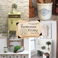 TGIF friends! Please join us at the Farmhouse Friday link party for the latest trends in farmhouse style!  #farmhousefriday #farmhouse #farmhousestyle #farmhousedecor #chalkpaint #paintedfurniture #crocks #galvanized #chalkpaintedfurniture #entryway