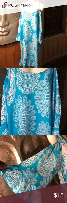 🐬Island Beach Cold Shoulder Dress-Bell Sleeved🐬 🐬🐬🐬This is a gorgeous turquoise and white cold shoulder dress. Great thought went into this dress. It has a ruffle at the bottom - cold shoulder style and beautiful bell sleeves. While it is labeled an xl I feel it runs a little small. Please ask me any questions you have before purchasing. It is really something else. 🐬🐬🐬 Island Beach Dresses