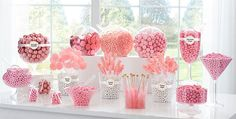 I hope you enjoy these amazing PINK CANDY BUFFET ideas. Pink Candy Table, Gold Candy Buffet, Pink Birthday Decorations, Girl Baby Shower Decorations, Birthday Ideas, Candy Bar Party, Candy Bar Wedding, Buffet Wedding, Pink Sweet 16