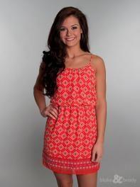 Spaghetti Strap Tribal Print Dress