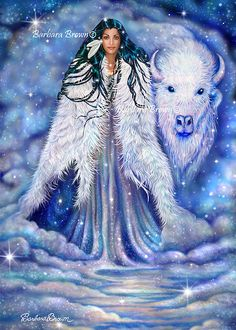 White Buffalo Woman Maiden Southwest Native Art by Barbara Brown