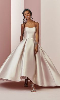 "#AD This gown in Vintage Rose takes our breath away! ERICA wedding dress from @maggiesottero value-conscious Rebecca Ingram collection. This Reena Mikado ballgown features a strapless scoop neckline, box pleats, and pockets in the high-low skirt. From the Fall 2018 ""Camille"" bridal collection. #RebeccaBride #RebeccaIngram #MaggieSotteroDesigns #Sponsored #WeddingDress #WeddingGown #Bridal #Wedding #Blush #BlushWeddingDress #BlushWedding #TeaLength #HighLow"