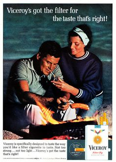 1965 Ad, Viceroy Cigarettes, Man & Woman Barbecuing Hot Dogs over Campfire | Flickr - Photo Sharing!