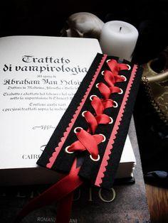 Gothic Bookmark Red Blood Satin Ribbon Vampire Corset Victorian