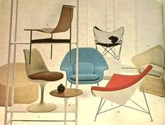 Mid-century modern/atomic age design chairs.