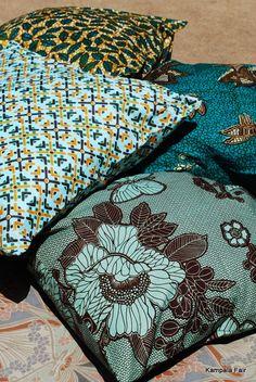 African wax print fabric cushion covers