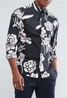 Selected Homme+ Shirt In Slim Fit With All Over Floral Print from ASOS (men, style, fashion, clothing, shopping, recommendations, stylish, menswear, male, streetstyle, inspo, outfit, fall, winter, spring, summer, personal)