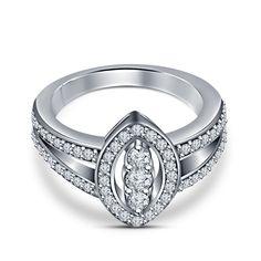 Ladies 14K White Gold 925 Silver Round Cut Sim.Diamond Wedding Ring #affordablebridaljewelry #SolitairewithAccents #EngagementWeddingAnniversaryPartyVelentine