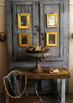 Reclaimed door, table, chair and the perfect metal urn