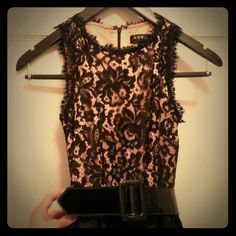 Nude and black lace party dress From Nordstrom, brand A.B.S. Comes with a black belt. Worn only once. Dresses