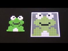 Cute Perler Bead Frog Pattern.  Laceys Crafts is all about sharing super simple and adorable crafts for kids. Enjoy!
