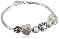 """CHARMED BEADS Sterling Silver Sisters are Forever Bead Charm Bracelet, 7.5"""""""