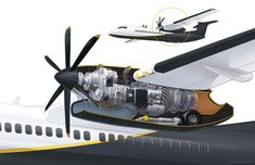 Cutaway of the nacelle of a Bombardier revealing the turboprop engine and landing gear. This highly efficient aircraft reduces fuel consumption by Aircraft Maintenance Engineer, Construction Documents, Landing Gear, Jet Plane, Mechanical Engineering, Design Model, 3d Design, Cutaway, Aviation