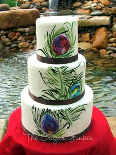 Not as literal. I like it. - Peacock Wedding Cake - Hand painted watercolor