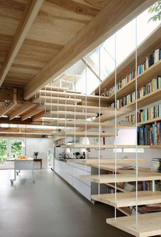 An inspired merging of stairs & shelves