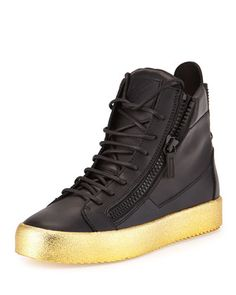 Men's Leather High-Top Sneaker, Black/Gold by Giuseppe Zanotti at Neiman Marcus.
