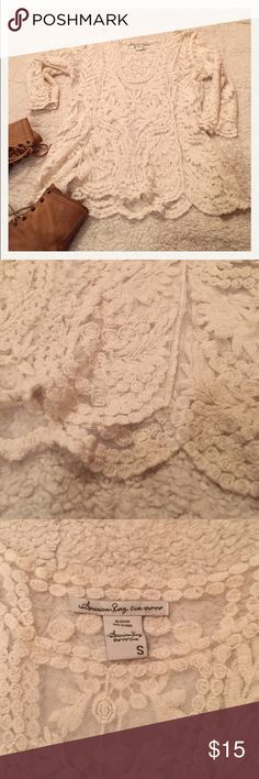 Off white lace mid sleeve blouse American Rag! Off white lace mid sleeve blouse American Rag! Size small! True to size! Like new!😃 American Rag Tops Blouses