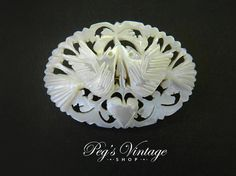 Vintage Hand Carved Mother Of Pearl Bird Dove by PegsVintageShop
