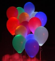 So simple and so exciting! Glowsticks in a balloon! So simple and so exciting! Glowsticks in a balloon! So simple and so exciting! Glowsticks in a balloon! Glow Party, Glow Sticks, Partys, Party Entertainment, Impreza, Holiday Parties, Night Parties, Teen Parties, Mouse Parties