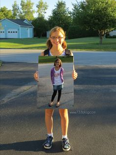 LOVE!!! Would be cool for first day of kindergarten and last senior day, also! Last day of school picture holding the first day of school picture.
