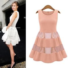 Elegant Sheer Gauze Tight Waist Sleeveless Dress For Women