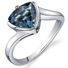 Promise Rings Simple | London Blue Topaz Solitaire Ring Sterling Silver Rhodium Nickel Finish Trillion 200 Carats Size 7 *** Find out more about the great product at the image link. Note:It is Affiliate Link to Amazon.